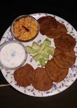 Singhare ke aate ki poori with crumbled paneer and chaas