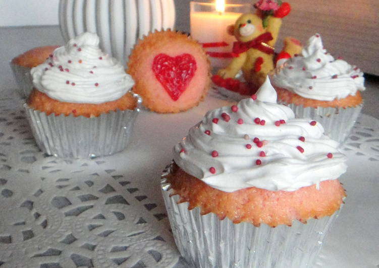 Pink Cupcake with Whipped cream Frosting