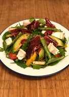 Jamon iberico, asparagus, pear and goats cheese salad