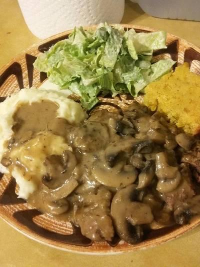 Cube Steak in Brown Mushroom Gravy