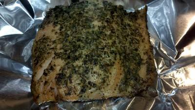 Grilled Garlic Basil Rubbed Salmon