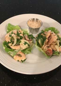 Shrimp and Cucumber Salad Lettece Wraps