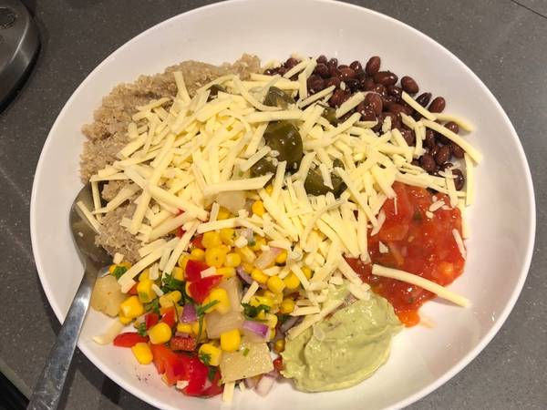 Almost no cook Mexican inspired vegetarian lunch bowl