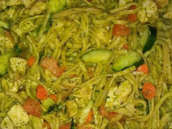 Chicken vegetables and pesto sauce pasta