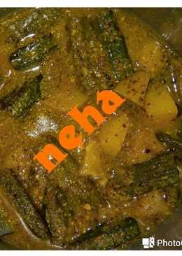 Bhindi potato curry in sarso masala