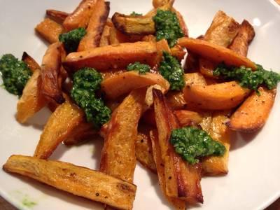 Sweet Potato Chips with Pesto