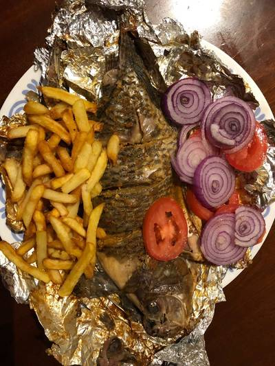 Grilled fish and fries