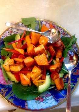 Roasted sweet potato and avocado salad