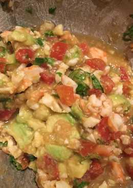 Shrimp ceviche and avocado tacos or dip