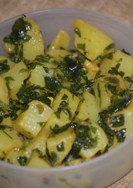 Aloo(potato) Methi(fenugreek leaves)