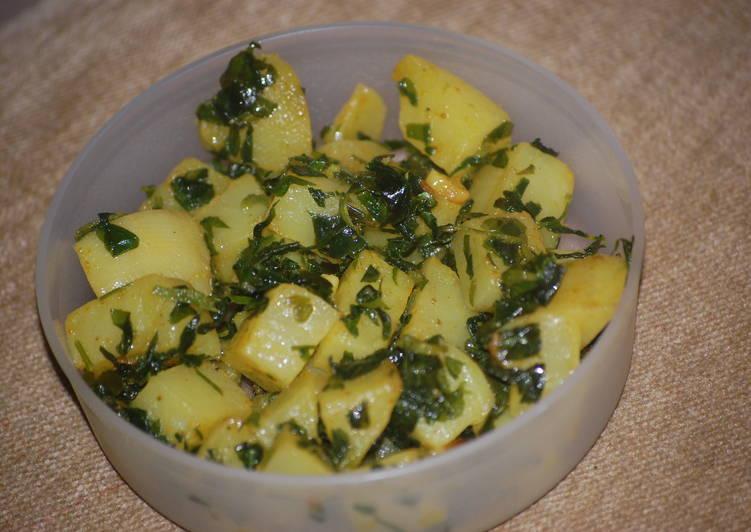 Aloo(potato) Methi(fenugreek leaves)