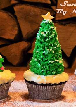 Christmas Tree Cupcakes | Eggless Chocolate Cup Cakes