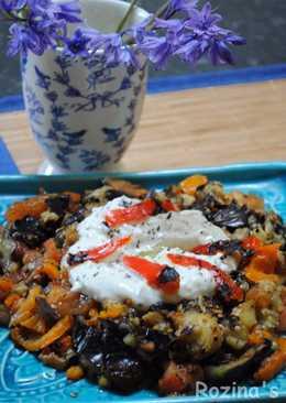 Turkish Grilled eggplant salad with yogurt-mint sauce