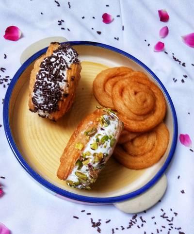 Paneer Jalebi ice-cream sandwich