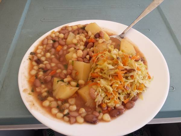 Githeri with Potato and Cabbage salad