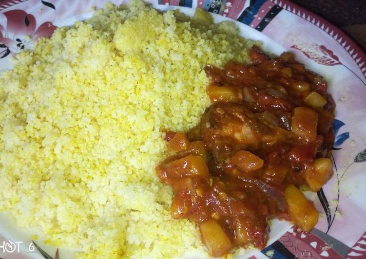 Curry Cous Cous With Irish Potatoes Sauce Recipe By