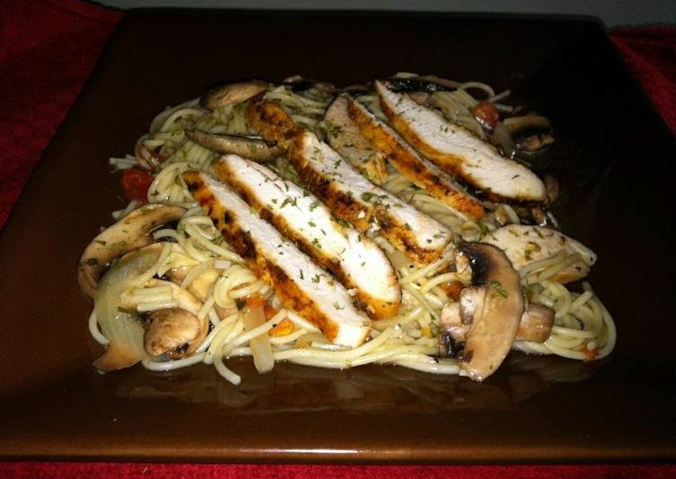 Grilled Chicken With Mushrooms And Angel Hair Pasta Recipe By