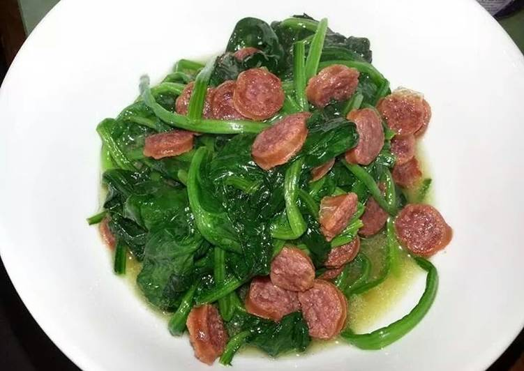 Spinach with Chinese sausage