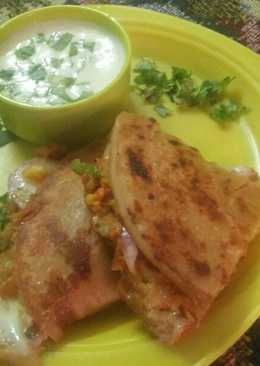 Veg seekh kabab Paratha with cheesy dip