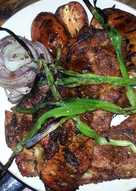 Grilled pork steaks with grilled veggies