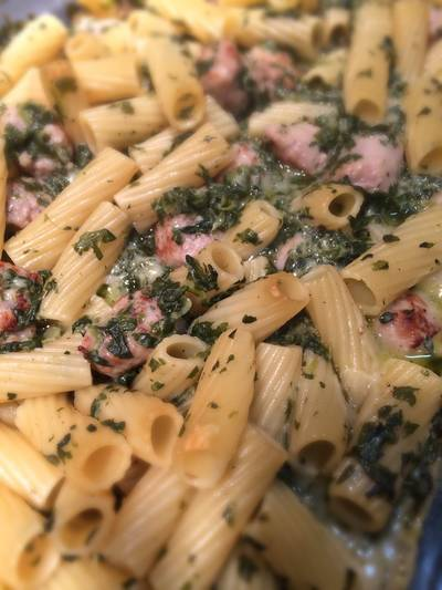 Italian Sausage Alfredo With Spinach