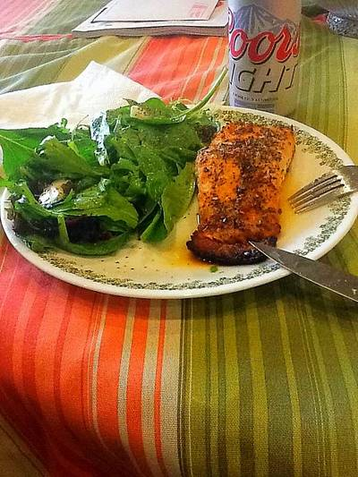 Baked Salmon With Spinach Salad