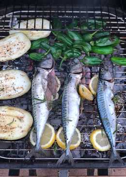 Braai mackerel and scallops with padron peppers, aubergine and sweet corn