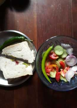 Healthy and tasty sandwich with salad