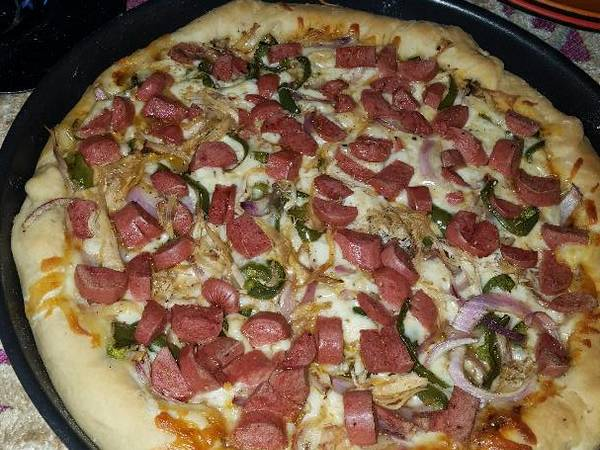 Chicken & Sausage Pizza with Cheese Crust