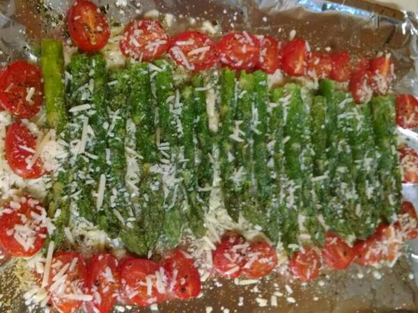 Roasted Asparagus and Grape Tomatoes