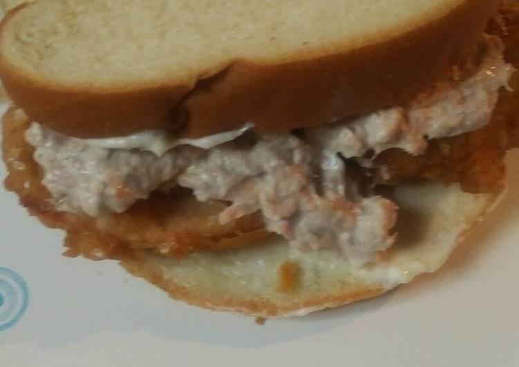 Tuna Salad and Fried Tomato Sandwich