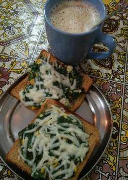Spinach corn toast