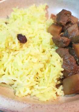 Saffron Rice with Biryani Beef