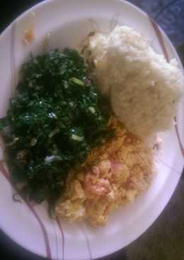 Mayai sukuma served with ugali