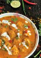 Homemade Chicken Sausages in Tomato Makhani Gravy