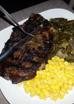 Lebanese spiced rib eye with collards and sweet&spicy corn