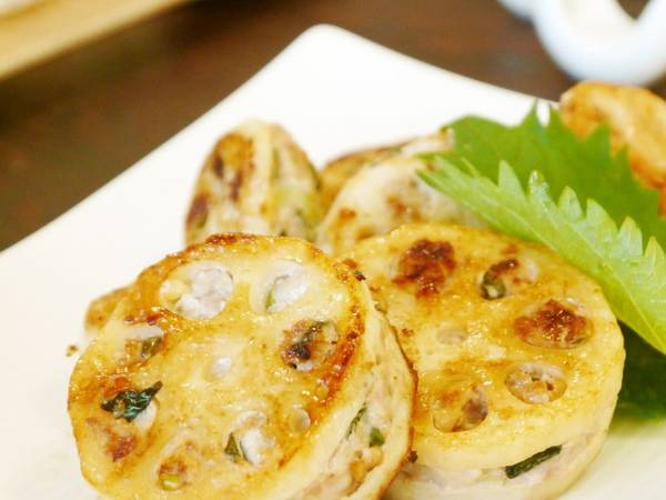 Pan Fried, Shiso Flavored Sandwiched Lotus Root