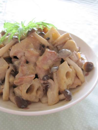 Simmered Chicken and Lotus Root in Soy Milk Miso Sauce
