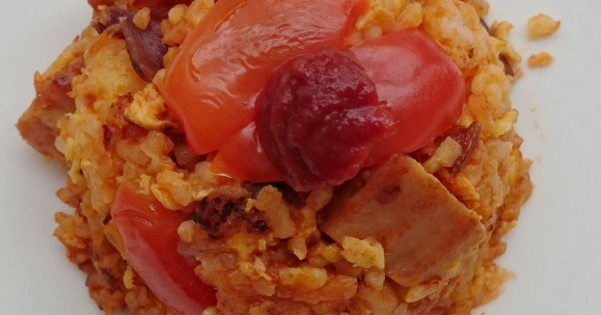 Sriracha Tomato Spam And Onion Fried Rice Recipe by Lee ...
