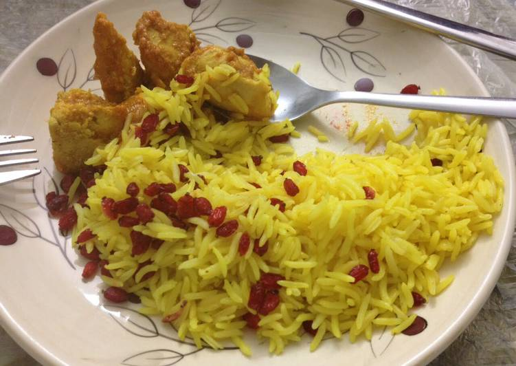 Iranian Rice With Saffron And Dried Pomegranate Recipe by ... Persian Pomegranate Rice