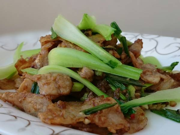 Pork Slice In Oyster Sauce With Bak Choy