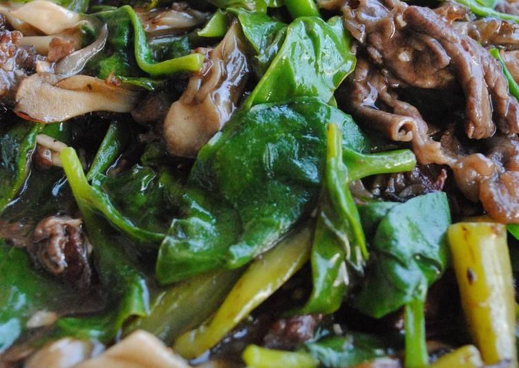 Chinese Stir-Fried Malabar Spinach (Tsuru-Murasaki)