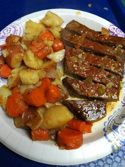 Roasted London Broil with vegetables