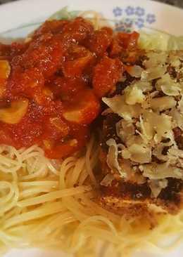 Tofu parm with mushroom marinara sauce, angel hair pasta