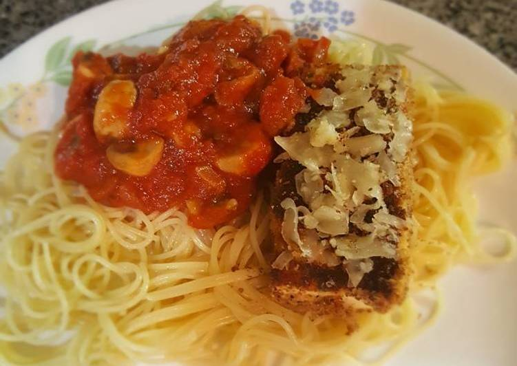 Tofu Parm With Mushroom Marinara Sauce Angel Hair Pasta Recipe By
