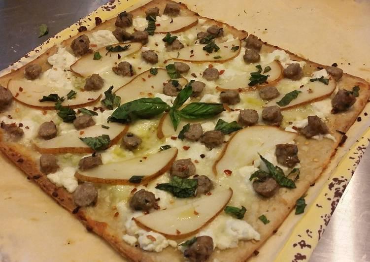 flatbread pizzette w sausage pear goat cheese an mozzarella - Boston Kitchen Pizza
