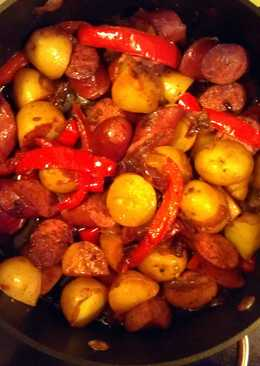 how to cook kielbasa with peppers and onions