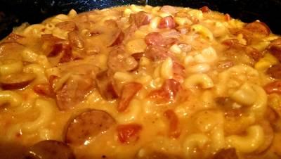 One Pot Cheesy Smoked Sausage & Pasta Skillet