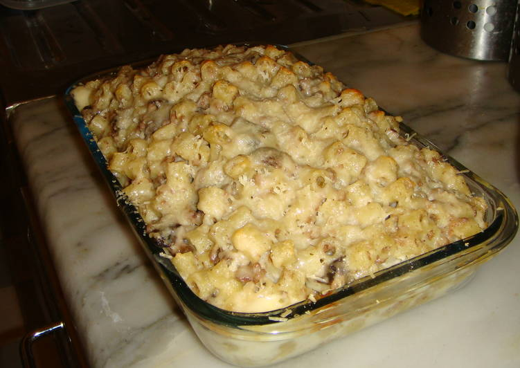 Mushroom-n-Minced-Meat Pasta Bake