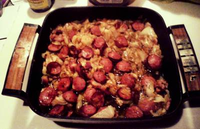 Fried Cabbage with Smoked Sausage
